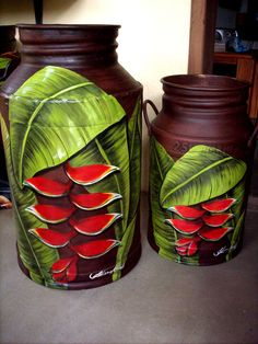 Painted Milk Cans, Painted Clay Pots, Paint Cans, Paint Buckets, Old Milk Cans, Vase Crafts, Dragonfly Art, One Stroke Painting, Tropical Art