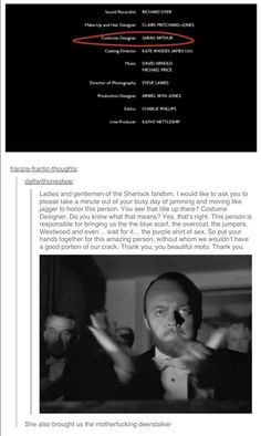 """she might have picked out the exact hat, but i mean the deerstalker was well established as a """"sherlock"""" thing long before this show aired. However PURPLE SHIRT OF SEX Sherlock Holmes Bbc, Sherlock Fandom, Sherlock John, Sherlock Tumblr, Martin Freeman, Benedict Cumberbatch, Fangirl, Vatican Cameos, Mrs Hudson"""