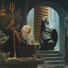 Fistandantilus and Raistlin from  Dragonlance series of books created by Margaret Weis and Tracy Hickman.