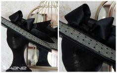 #Sombrero de plumeti, raso y encaje