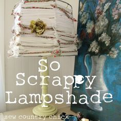 this is a scrap busting project fun for kids to make.   A lampshade made from strips of fabric.  How to make it?  Remove the fabric from an old lampshade.  Tie strips of fabric around each section.  Easy Peasy!