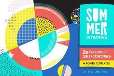 Summer Memphis Patterns + Templates by Anugraha Design on @creativemarket