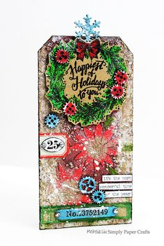 Meihsia Liu Simply paper Crafts Mixed Media Tag Christmas Simon Says Stamp Tim…