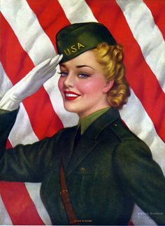 Vintage Victor Tchetchet World War II Salute to Victory Pin-Up Girl Print Patriotic Images, Military Pins, Military Salute, Military Mom, Ww2 Posters, I Love America, Happy Memorial Day, American Pride, American Spirit