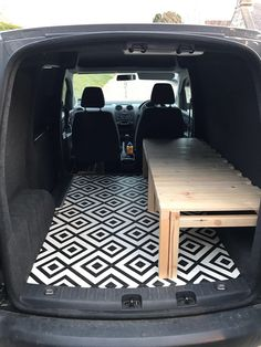 VW Caddy with sliding slat bed/bench! So chuffed with it VW Caddy with sliding slat bed/bench! So chuffed with it Mini Camper, Popup Camper, Honda Element Camping, Ford Transit Connect Camper, Campervan Bed, Campervan Ideas, Minivan Camper Conversion, Kangoo Camper, Suv Camping