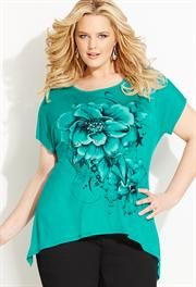 Floral Print Tee, Sizes 14-32W   ElegantPlus.com Spring 2013 Editor's Pick