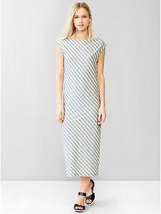Heathered stripe muscle midi dress