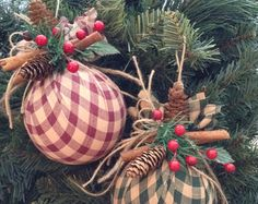 Ornaments / Christmas Fabric Ornaments / Plaid Xmas Tree Ornaments / Red - Black - Burlap Xmas Ornaments / Set of 2 / Rustic Xmas Ornaments Christmas Ornament Sets, Noel Christmas, Primitive Christmas, Diy Christmas Ornaments, Homemade Christmas, Christmas Projects, Holiday Crafts, Christmas Wreaths, Country Christmas
