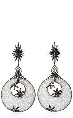 Shop Carved White Jade And Diamond Earrings by Bochic  - Moda Operandi