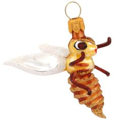 Small Gold Bee Glass Ornament
