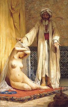 Muhammad and sex slavery, La perla del mercader (The Merchant's Pearl) by Chilean painter Alfredo Valenzuela Puelma. Muslim slave markets were the subject of numerous paintings by classical artists. Historical Art, Museum Of Fine Arts, North Africa, Erotic Art, Female Art, Art History, Art Gallery, Images, Sketches