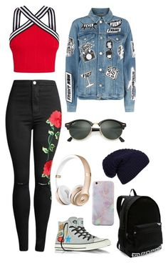 """""""#13"""" by cecilie-monica-nrskov-pedersen on Polyvore featuring Victoria's Secret, Converse, Frame, WithChic and Ray-Ban"""