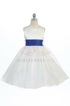 2t is the smallest Royal Blue Sashed Satin Bodice Organza Flower Girl Dress G3211-RB $42.95 size 6 add 5.00 on www.GirlsDressLine.Com