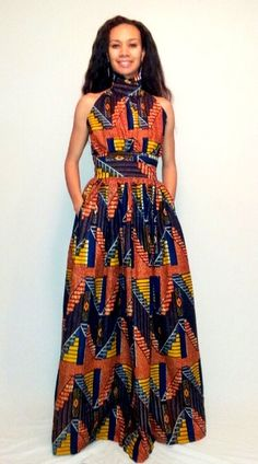 African print maxi dress by Curtis Curtis Aichler Mode African Inspired Fashion, African Print Fashion, Africa Fashion, Fashion Prints, Fashion Design, African Attire, African Wear, African Women, African Style