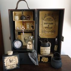Halloween party decor, apothecary display, witches kitchen, apothecary cabinet…