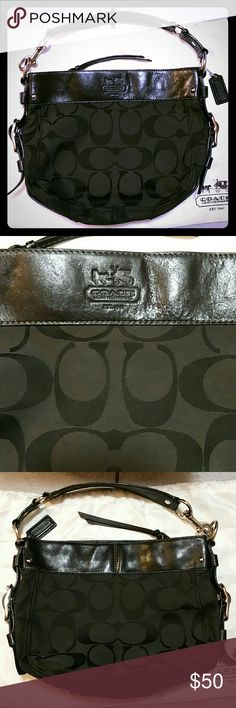 Coach Purse Coach Purse, 100% Authentic -Comes with Coach Dust Bag -Comes in Coach box in came in when I bought it Black Leather/Black Cloth Fabric Width: 12.5 in , Tall: 9.5in -Purse handle is in great condition -Outside of purse shows some light wear -pics #6/7 show wear on the bottom of the purse -pic #8 shows wear on inside of purse Purse is still in great condition with normal wear --I can post more pictures, just ask :) Coach Bags Shoulder Bags