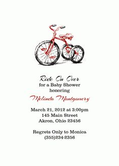 Tricycle Birthday Baby Shower Invitation