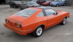 Tangerine is a cool color. Orange wasn't offered on too many years of Mustangs. Check out our page dedicated to Orange Mustangs. 1973 Mustang, Mustang Cars, Ford Mustang, Mustang Hatchback, Mustang Emblem, Old Fords, Truck Design, Classic Cars, Classic Auto