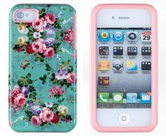 DandyCase 2in1 Hybrid High Impact Hard Vintage Sea Green Floral Pattern + Pink Silicone Case Cover For Apple iPhone 4S & iPhone 4 + DandyCase Screen Cleaner DandyCase http://www.amazon.com/dp/B00G5JV7P2/ref=cm_sw_r_pi_dp_sJWXtb0FP5XA68JK
