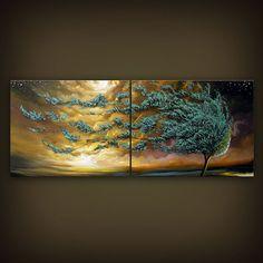 large abstract landscape painting folk art original by mattsart, $389.00