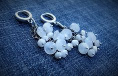 Moonstone Chandelier Earrings-Winter White Earrings-Hippie Chic Earrings-Cluster Earrings-Sterling Silver Jewelry-Boho Chic Jewelry by 23littlewishes on Etsy