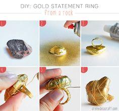 Como hacer un anillo dorado con una piedra y alambre de aluminio