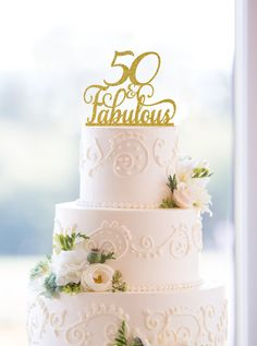 New to ChicagoFactory on Etsy: 50 and Fabulous Birthday Topper Classy 50th Birthday Topper Fiftieth Birthday Cake Topper- (S196) (15.00 USD)