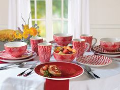 Mint Pantry Simpson 16 Piece Dinnerware Set, Service for 4 Color: Red Breakfast Nook Table, Dinnerware Sets, Cereal Bowls, Served Up, Salad Plates, Kitchen Colors, Dinner Plates, Punch Bowls, Tablescapes