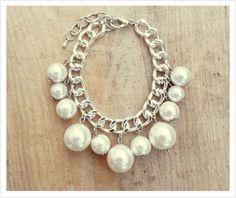 Pearls Silver Bracelet, Silver Chain, Romantic, Charming Bracelet, Wedding Jewelry - Handmade - For Women