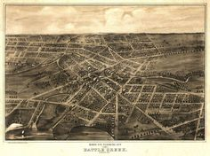 Bird's eye view of the city of Battle Creek, Calhoun County Michigan. Drawn and published by A. Ruger. 1870 Year: 1870 City: Battle Creek County: Calhoun State: Michigan Country: United States