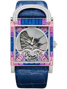 7ad7b15cca53 DeLaneau s Dôme Tourbillon Butterfly Le Flambé one-of-a-kind ladies  watch  has a miniature enamel butterfly on the dial and is surrounded by a rainbow  of ...