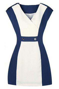 ROMWE | ROMWE Color Block V-neck Slim Blue Dress, The Latest Street Fashion