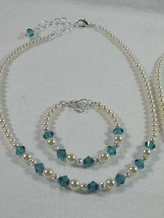 Wedding Flower Girl Gift Necklace Bracelet by lakehousejewelrybd, $24.50