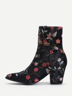 Boots by BORNTOWEAR. Side Zipper Calico Embroidery Velvet Ankle Boots