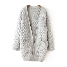 Light Grey Long Sleeve Chunky Pockets Cardigan (225 HKD) ❤ liked on Polyvore featuring tops, cardigans, grey, grey cardigan, cable cardigan, gray cardigan, short-sleeve cardigan and cocoon cardigan