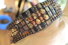 BROWN IRIS Hand-Loomed Bracelet featuring Swarvoski Crystals,Czech Fire-Polished,Miyuki Tila & Japanese Seed Beads, Brass Clasp with Chain