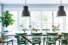 Green dining room chairs!