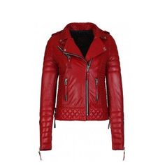 Classic Pop Red Biker Leather Jacket For Women With Wide Collar In Front Pockets #Handmade #IndianWesternStyle