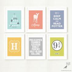Harry Potter 6 Print Poster Collection, Teen Bedroom wall decor, Harry Potter art, monogram, platform 9 3/4, Harry Potter poster