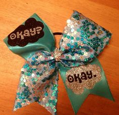 Fault In Our Stars Cheer Bow , Okay Okay , blue cheer bow , Bella bows