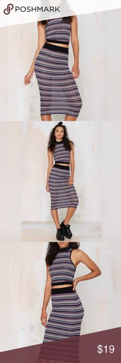 """Knit Pencil Skirt Direct from distributor. Brand Solemio from Nasty Gal.   Piper Knit Pencil skirt. You're a modern babe with a vintage vibe. Made in a soft knit and features multicolored stripes, black ribbed trim, and a fitted design.   Polyester/Rayon/Spandex. 29.5"""" length, 12.5"""" waist. Stretchy elastic waist band.   Model photos are not mine. Credit to Nasty Gal. Nasty Gal Skirts Pencil"""