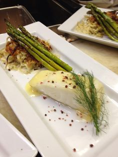 Seabass with rosé pepper burre blanc fennel and asparagus