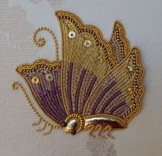 Japanese Embroidery Amethyst Japanese Butterfly by Jane Nicolas Embroidery Works, Gold Embroidery, Japanese Embroidery, Learn Embroidery, Crewel Embroidery, Hand Embroidery Designs, Embroidery Thread, Embroidery Patterns, Machine Embroidery