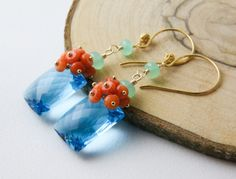 AAA tropical swiss blue topaz orange pink coral rondelles cluster apple green chrysoprase beads wire wrapped gold filled dangle earrings