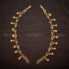 Designer Silver temple matils studded with ruby green synthetic stones plated with gold polish made of pure silver ! Gold Mangalsutra Designs, Gold Earrings Designs, Gold Temple Jewellery, Ear Chain, Antique Jewellery Designs, Ear Jewelry, Bridal Jewelry Sets, Fashion Jewelry, Gold Polish