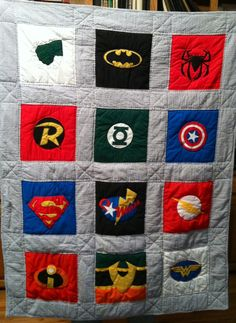 Owen's Super Hero quilt for his birthday Superhero Quilt, Superhero Room, Quilting Projects, Quilting Designs, Sewing Projects, Quilting Ideas, Sewing Crafts, Diy Projects, Boy Quilts