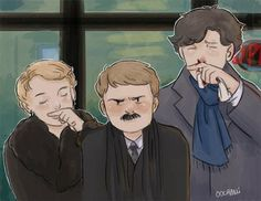 Moustache club by oochami january 4th 2014. Notice that this is directly after he punched Sherlock in the nose. XD