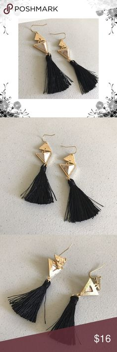 """Boho Triangle Tassel Earrings Gold Plated Faux White Turquoise Triangles adorned with Black Tassels. Approx 3.15"""" in length. Perfect addition to your Boho jewelry collection! Bundle for discounts! Thank you for shopping my closet! Jewelry Earrings"""