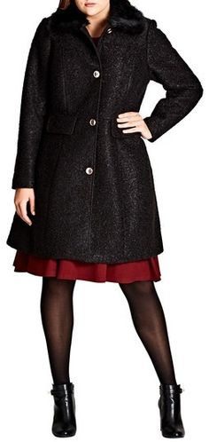 Plus Size Women's City Chic Winter Rose Coat With Faux Fur