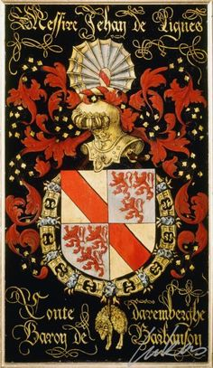 "(210) Jean de LIGNE, comte d'Arenberg (1517-1604) -- ""Messire Jehan de Lignes, conte Daremberghe, baron de Barbanson"" -- Armorial plate from the Order of the Golden Fleece, 1559, Saint Bavo Cathedral, Gent"